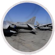 Flight Deck Personnel Reposition Av-8b Round Beach Towel