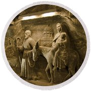 Flight Into Egypt - Wieliczka Salt Mine Round Beach Towel