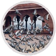 Flight Of Pigeons Inside The Jama Masjid In Delhi Round Beach Towel