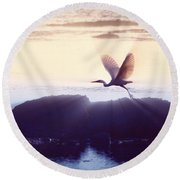 Flight Of The Egret V1 Round Beach Towel