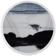 Flight Of The Egret V2 Round Beach Towel