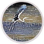 Flight Of The Egret V5 Round Beach Towel
