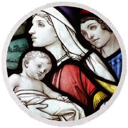 Flight To Egypt Stained Glass Round Beach Towel