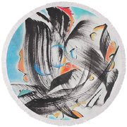Flight Toward Blue Round Beach Towel