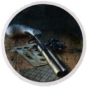 Flint Lock Pistol And Playing Cards Round Beach Towel
