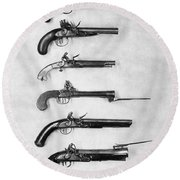 Flintlock Pistols Round Beach Towel