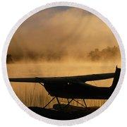 Float Plane, Long Lake, Sudbury, Ontario Round Beach Towel