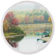 Float Plane On Pond Near Golden Road Maine Photo Poster Print Round Beach Towel