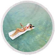 Floating At Sea Round Beach Towel