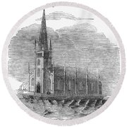 Floating Church, 1849 Round Beach Towel