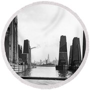 Floating Grain Elevators In Ny Round Beach Towel