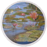 Floating Lillies Round Beach Towel by Mohamed Hirji