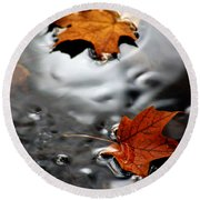 Floating Maple Leaves Round Beach Towel
