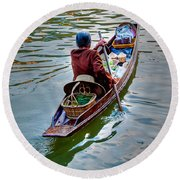 Floating Market Round Beach Towel