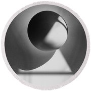 Floating Sphere On Light Triangle- Black And White Silver Gelati Round Beach Towel by Adam Long