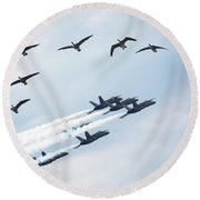 Flock Of Canada Geese At Air Show Round Beach Towel