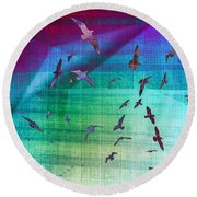 Flock Of Seagulls Round Beach Towel