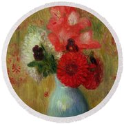Floral Arrangement In Green Vase Round Beach Towel