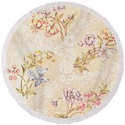 Floral Design With Peonies Lilies And Roses Round Beach Towel by Anna Maria Garthwaite