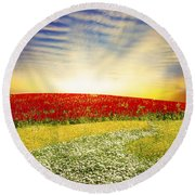 Floral Field On Sunset Round Beach Towel