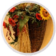 Floral Horn Of Plenty Round Beach Towel