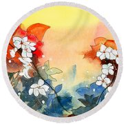 Floral Neklace Round Beach Towel by Anil Nene
