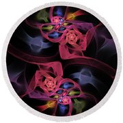 Floral Rose Edgy Abstract Round Beach Towel