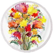Floral Seven Round Beach Towel