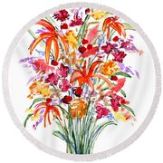 Floral Six Round Beach Towel
