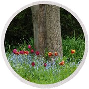 Floral Surrounding Round Beach Towel