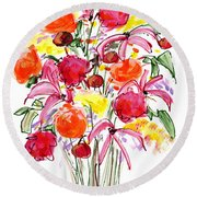 Floral Thirteen Round Beach Towel