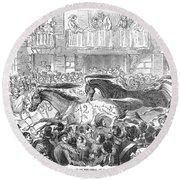 Florence: Horse Race, 1857 Round Beach Towel