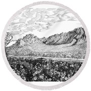 Florida Mountains And Poppies Round Beach Towel by Jack Pumphrey