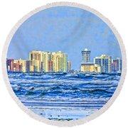 Florida Turbulence Round Beach Towel by Deborah Benoit