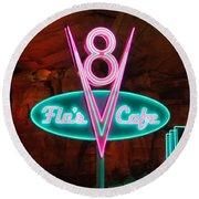 Flo's V8 Cafe - Cars Land - Disneyland Round Beach Towel by Heidi Smith