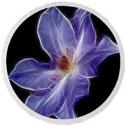 Flower - Clematis - Abstract Round Beach Towel