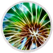 Flower - Dandelion Tears - Abstract Round Beach Towel