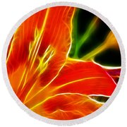 Flower - Lily 1 - Abstract Round Beach Towel