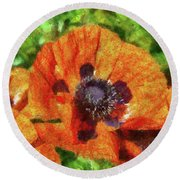 Flower - Poppy - Orange Poppies  Round Beach Towel