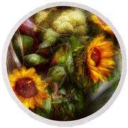 Flower - Sunflower - Gardeners Toolbox  Round Beach Towel