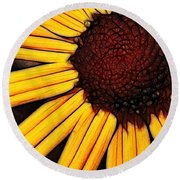 Flower - Yellow And Brown - Abstract Round Beach Towel
