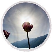 Flower And Sun Round Beach Towel