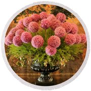 Flower Arrangement Chateau Chenonceau Round Beach Towel