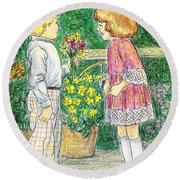 Flower Children Round Beach Towel