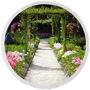 Flower Garden - Digital Painting Round Beach Towel