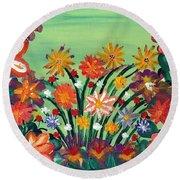Flower Garden Round Beach Towel