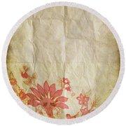 Flower Pattern On Old Paper Round Beach Towel