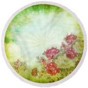 Flower Pattern On Paper Round Beach Towel by Setsiri Silapasuwanchai