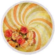 Flower Pattern Retro Style Round Beach Towel