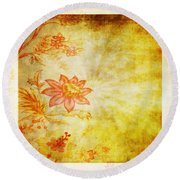 Flower Pattern Round Beach Towel by Setsiri Silapasuwanchai